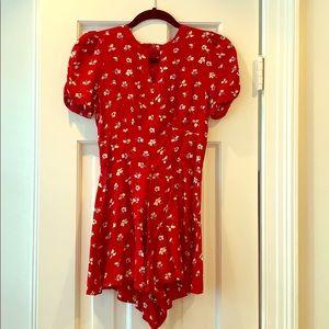 Topshop red floral romper summer style jumpsuit
